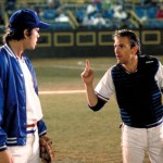 "Kevin Costner having a teaching moment with Timothy Robbins in ""Bull Durham"""
