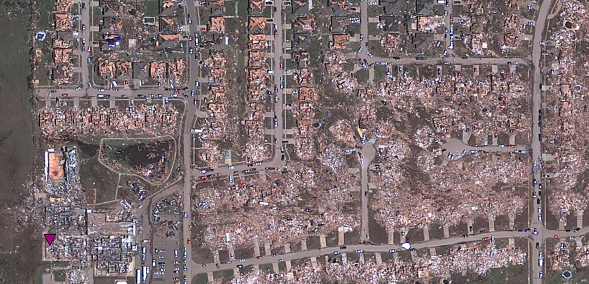 Satellite Pictures of the Moore, Oklahoma Tornado Path on Google Maps