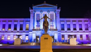 The Boston Musuem of Fine Arts Colorfully Lit Up at Night